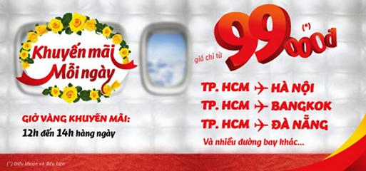 Vé khuyến mãi giá 99,000 VNĐ hàng ngày - Vietjet