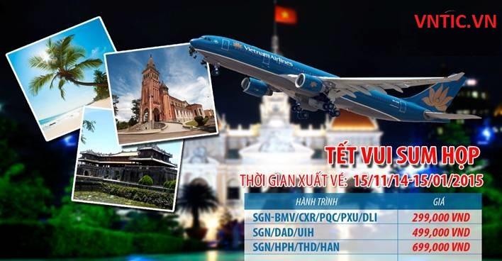 Vietnam Airlines bán vé Tết vui sum họp với hành trình nội địa