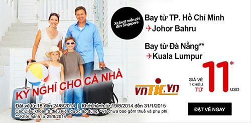 Chỉ 11$ cho vé máy bay AirAsia khuyến mãi đi Johor Bahru hay Kuala Lumpur